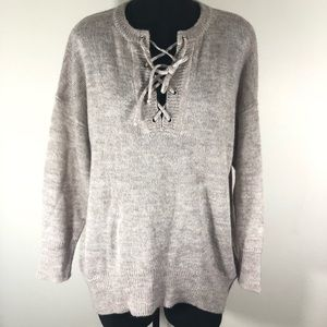 White Crow Beige Wool Blend V-Neck Tunic Sweater